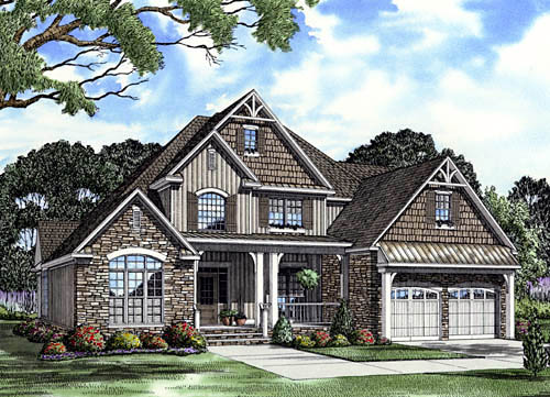 Craftsman, Traditional House Plan 61333 with 3 Beds, 3 Baths, 2 Car Garage Elevation