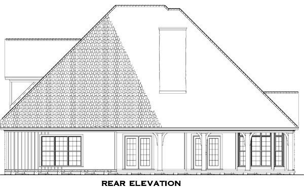Craftsman, Traditional House Plan 61333 with 3 Beds, 3 Baths, 2 Car Garage Rear Elevation