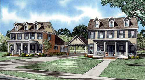 Colonial Multi-Family Plan 61336 Elevation