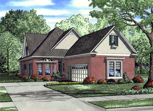 Narrow Lot House Plan 61342 with 3 Beds, 4 Baths, 2 Car Garage Elevation