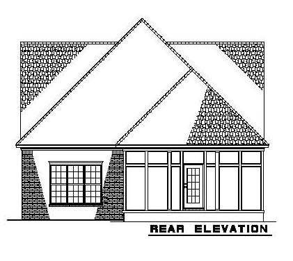 Narrow Lot House Plan 61342 with 3 Beds, 4 Baths, 2 Car Garage Rear Elevation