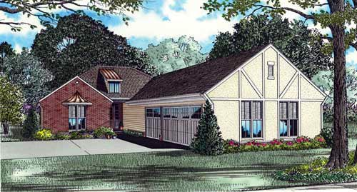 One-Story House Plan 61343 with 4 Beds, 4 Baths, 3 Car Garage Elevation