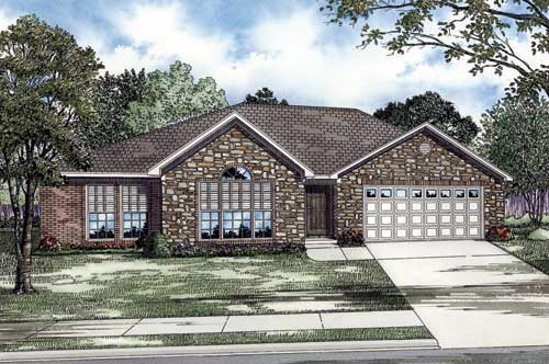 Traditional House Plan 61348 with 3 Beds, 2 Baths, 2 Car Garage Elevation
