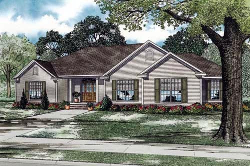 Traditional House Plan 61350 with 3 Beds, 3 Baths, 3 Car Garage Elevation