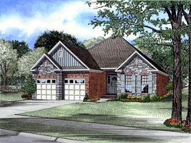 Bungalow , Craftsman , European House Plan 61353 with 3 Beds, 2 Baths, 2 Car Garage Elevation