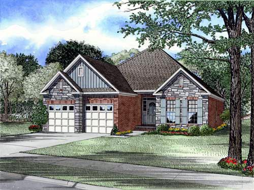 Bungalow, Craftsman, European House Plan 61353 with 3 Beds, 2 Baths, 2 Car Garage Elevation