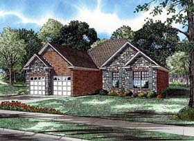 House Plan 61355 with 3 Beds, 2 Baths, 2 Car Garage Elevation