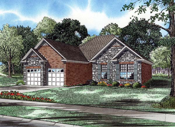 One-Story House Plan 61355 with 3 Beds, 2 Baths, 2 Car Garage Elevation