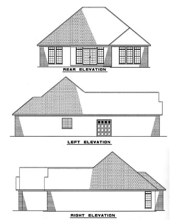 One-Story Rear Elevation of Plan 61355