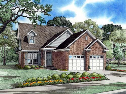 Country, European, Narrow Lot House Plan 61356 with 3 Beds, 3 Baths, 2 Car Garage Elevation