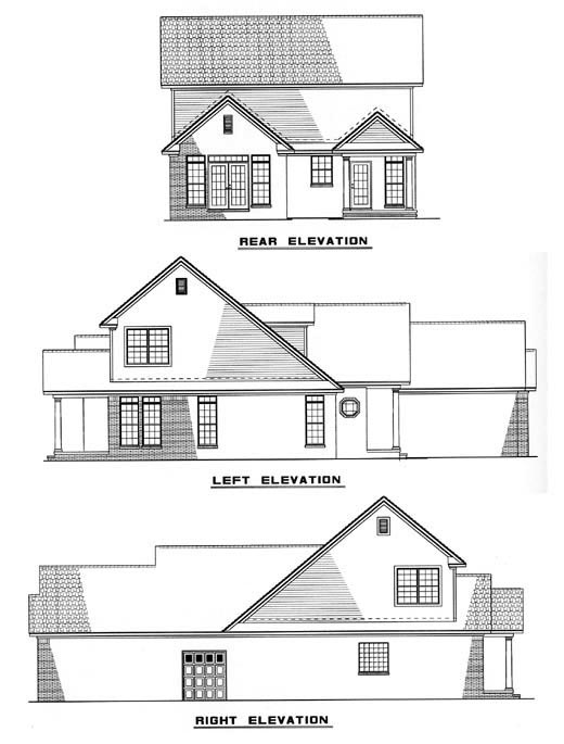 Country, European, Narrow Lot House Plan 61356 with 3 Beds, 3 Baths, 2 Car Garage Rear Elevation