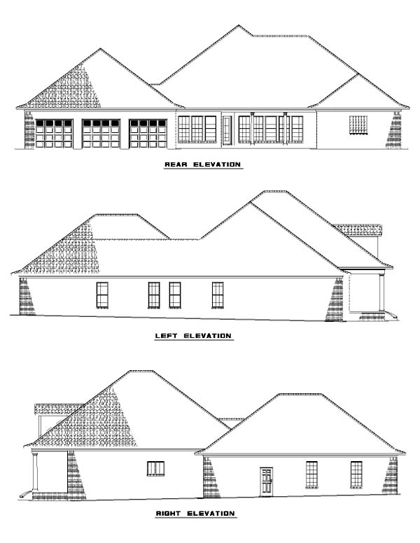 One-Story Rear Elevation of Plan 61363