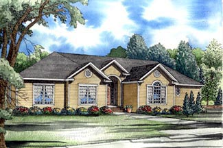European Traditional House Plan 61365 Elevation