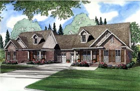 Multi-Family Plan 61366 | Traditional Style Plan with 2910 Sq Ft, 6 Bedrooms, 4 Bathrooms, 2 Car Garage Elevation