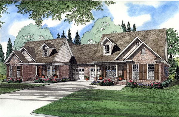 Traditional Multi-Family Plan 61366 Elevation