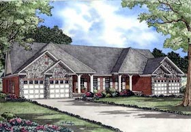 Multi-Family Plan 61367 Elevation