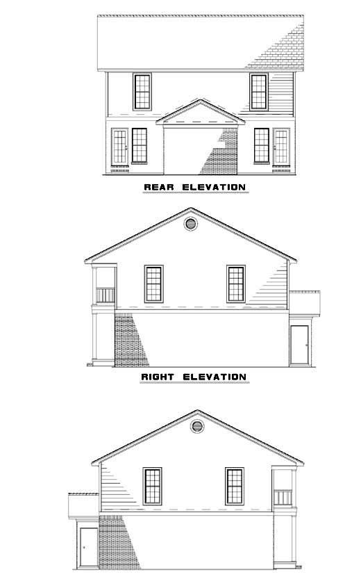 Southern Traditional Multi-Family Plan 61370 Rear Elevation