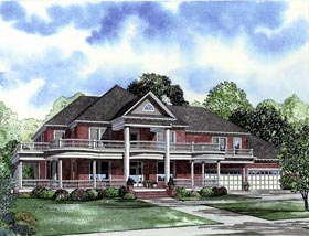 Southern , Plantation House Plan 61376 with 6 Beds, 5 Baths, 4 Car Garage Elevation