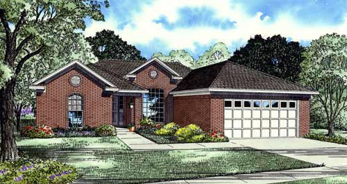 One-Story House Plan 61380 with 3 Beds, 2 Baths, 2 Car Garage Elevation