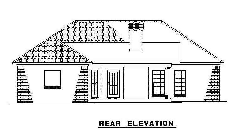 One-Story House Plan 61380 with 3 Beds, 2 Baths, 2 Car Garage Rear Elevation