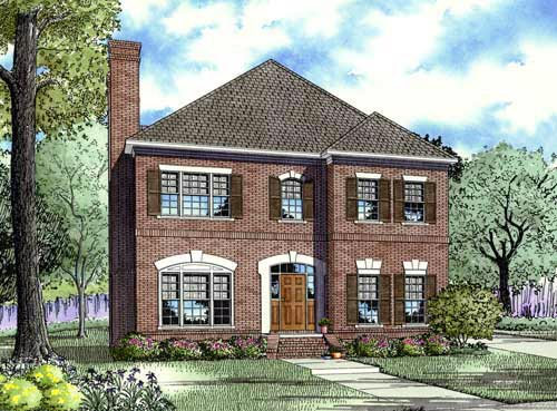 Narrow Lot House Plan 61382 with 3 Beds, 3 Baths, 2 Car Garage Elevation