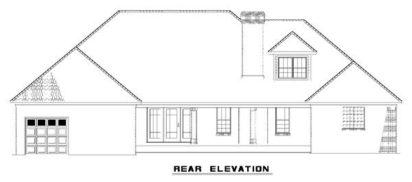 European Traditional House Plan 61384 Rear Elevation
