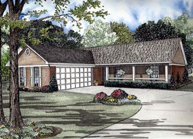 House Plan 61385 | Style House Plan with 1224 Sq Ft, 3 Bed, 2 Bath, 2 Car Garage Elevation