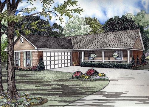 One-Story House Plan 61385 with 3 Beds, 2 Baths, 2 Car Garage Elevation
