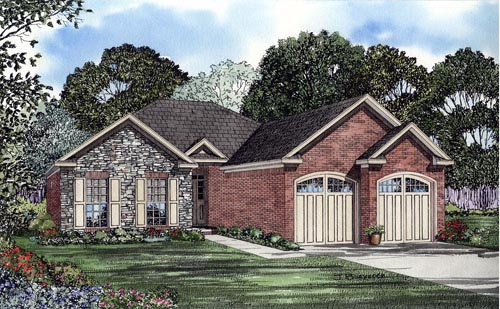 One-Story House Plan 61387 with 2 Beds, 2 Baths, 2 Car Garage Elevation