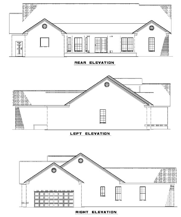 House Plan 61389 with 4 Beds, 4 Baths, 2 Car Garage Rear Elevation