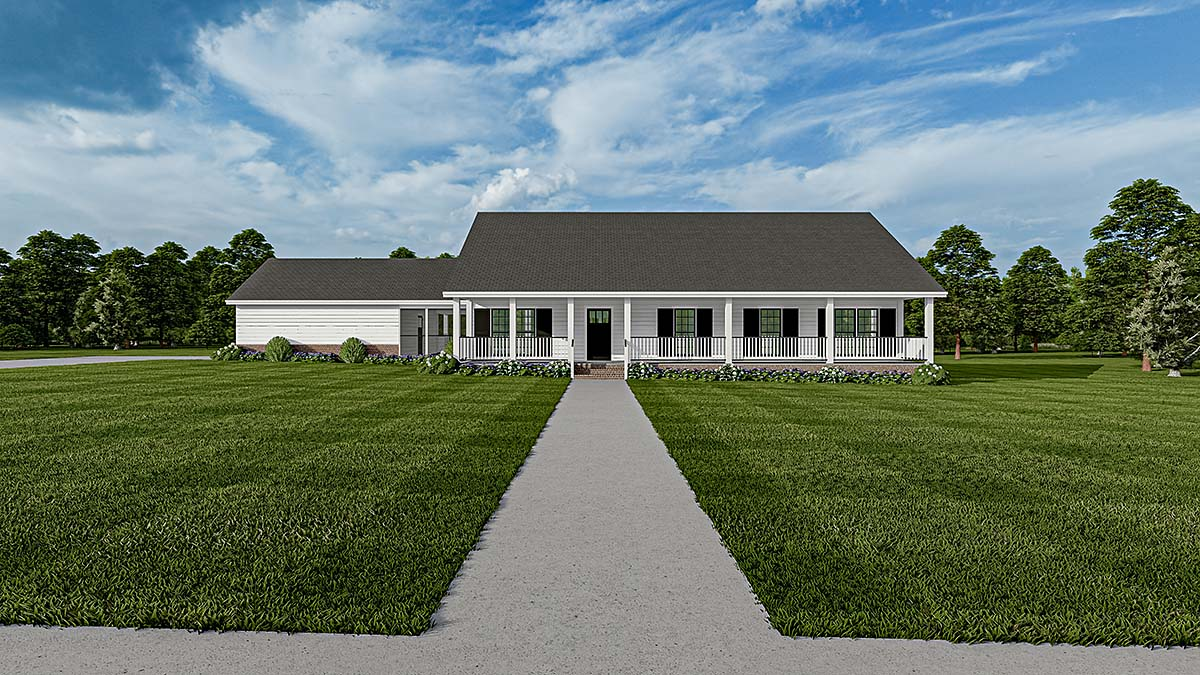 Country Farmhouse Southern House Plan 61392 Elevation