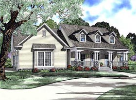 Cape Cod , Country , Craftsman House Plan 61393 with 4 Beds, 3 Baths, 3 Car Garage Elevation