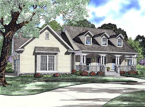 Cape Cod Country Craftsman Elevation of Plan 61393