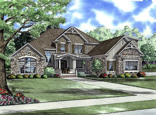 Country, Craftsman, Farmhouse House Plan 61394 with 4 Beds, 3 Baths, 3 Car Garage Elevation