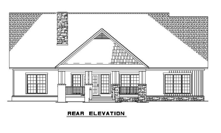 Craftsman House Plan 61395 Rear Elevation