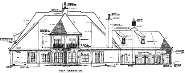 House Plan 61399 with 6 Beds, 7 Baths, 3 Car Garage Rear Elevation