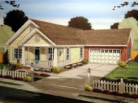 Cottage , Country , Traditional House Plan 61401 with 3 Beds, 2 Baths, 2 Car Garage Elevation