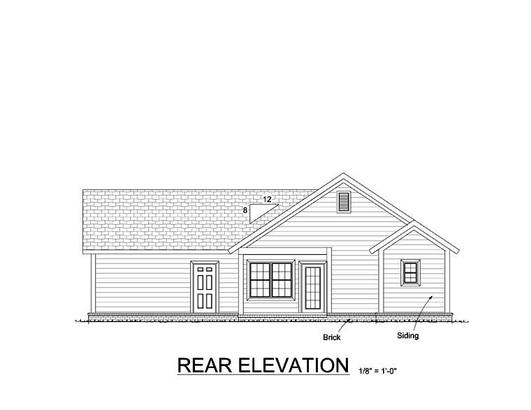 Cottage , Country , Traditional House Plan 61401 with 3 Beds, 2 Baths, 2 Car Garage Rear Elevation