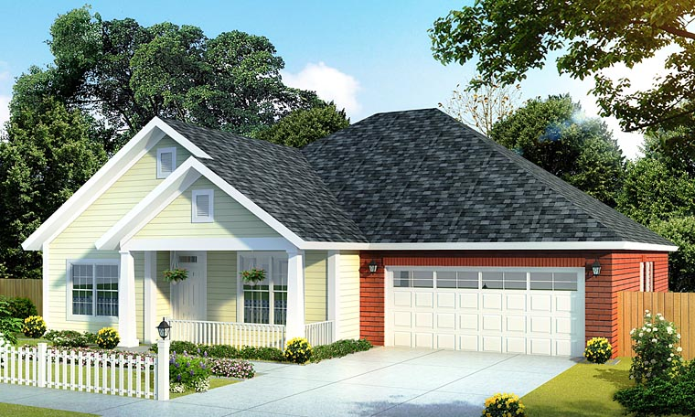 Traditional House Plan 61406 with 4 Beds, 3 Baths, 2 Car Garage Elevation