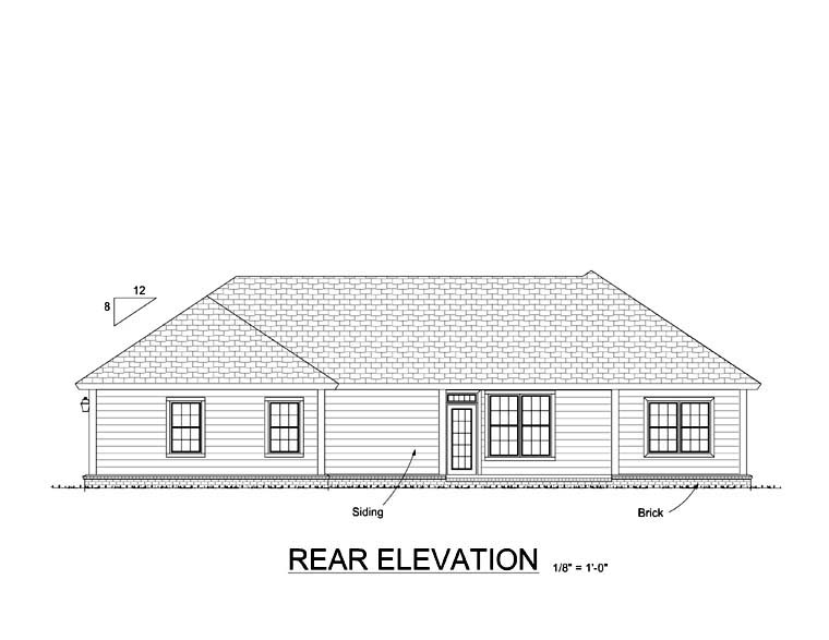 Craftsman Traditional House Plan 61407 Rear Elevation