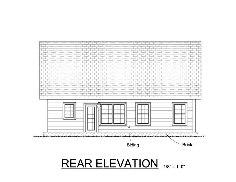 Craftsman Traditional Rear Elevation of Plan 61409