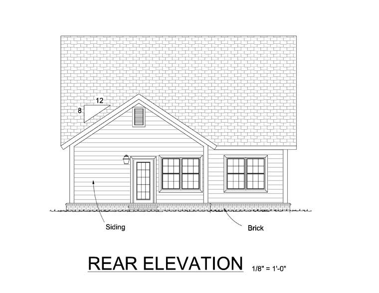 Traditional House Plan 61410 Rear Elevation