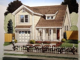 Traditional House Plan 61411 with 3 Beds, 3 Baths, 1 Car Garage Elevation
