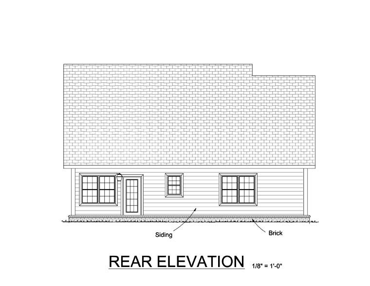 Traditional House Plan 61412 Rear Elevation