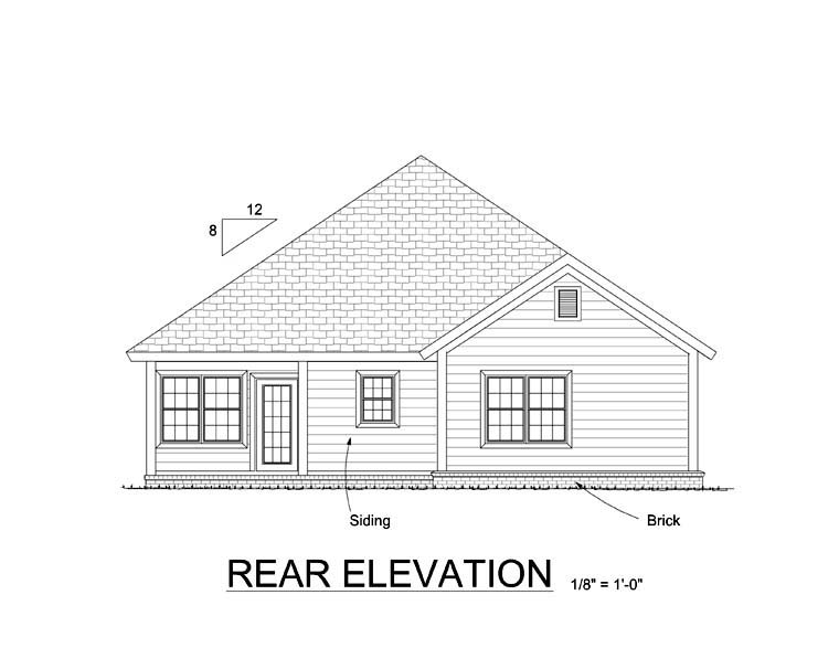 Traditional House Plan 61413 Rear Elevation