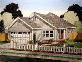 Traditional House Plan 61414 with 3 Beds, 2 Baths, 2 Car Garage Elevation