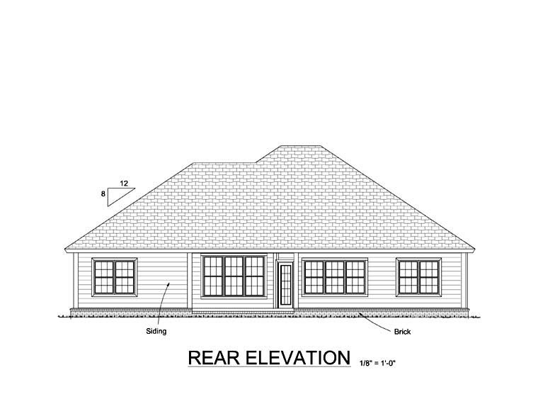 Traditional House Plan 61415 with 4 Beds, 3 Baths, 2 Car Garage Rear Elevation