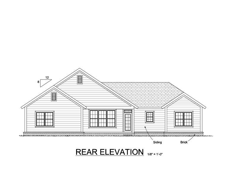 Traditional House Plan 61416 Rear Elevation