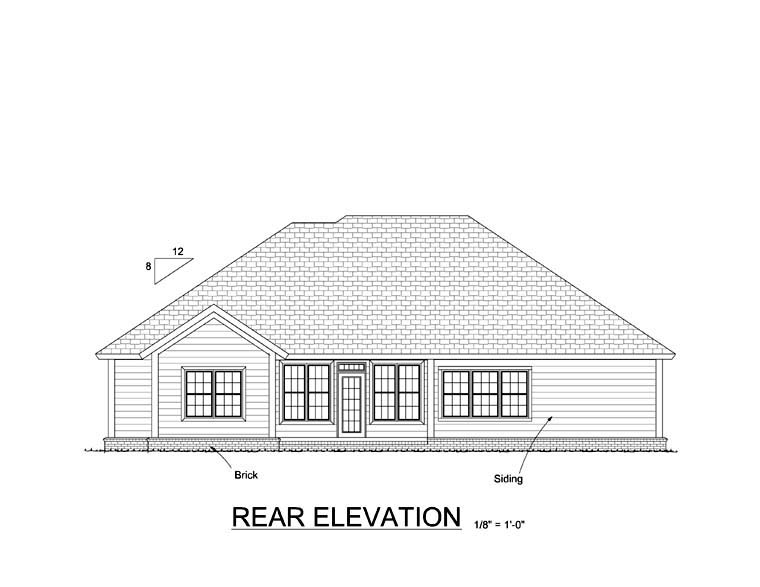 Traditional House Plan 61417 Rear Elevation