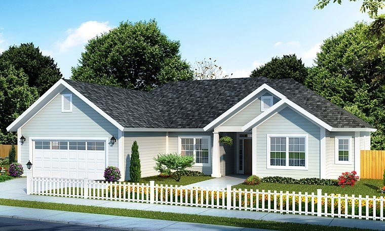 Cottage, Ranch, Traditional House Plan 61420 with 4 Beds, 3 Baths, 2 Car Garage Elevation